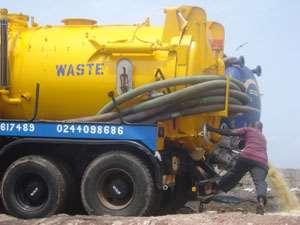 Cesspit tank descharging faecal waste into the sea