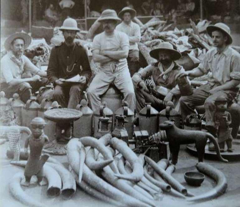Members of the nefarious Punitive Expedition of 1897 posing proudly with their looted Benin artefacts