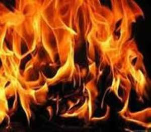 Fire engulfs structures at Spintex Road