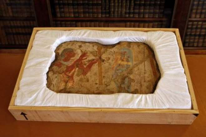 One of five fragments cut from a wall painting in the ancient Egyptian tomb of Tetiky and   later returned by France to Egypt.