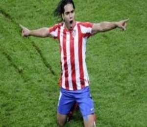 Falcao scored twice for Madrid