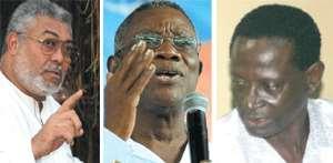 Ex- President Rawlings founder of NDC (left), President John Evans Atta Mills (middle), Dr. Kwabena Adjei - NDC National Chairman (right)