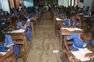 Students writing thier B.E.C.E exams