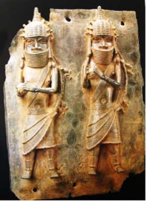 Plaque with two musicians holding gourd rattles, Benin/Nigeria, Ethnology Museum, Vienna