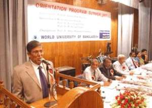 Honorable Vice-Chancellor of WUB Professor Abdul Mannan Choudhury, PhD addressing at the Fresher s Reception