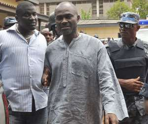 Kennedy Agyepong arriving at the Adjabeng court yesterday