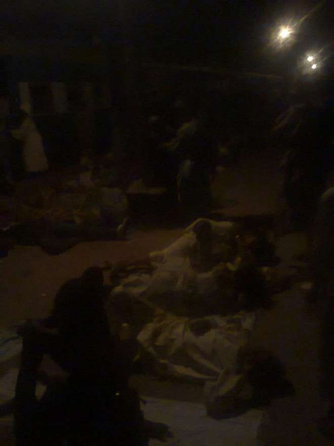 RAILWAY PASSENGERS,WOMEN AND CHILDREN SLEEPING ON THE FLOOR AT THE ABEOKUTA TERMINAL WHERE THE TRAIN WAS ABANDONED AROUND 1 00 A.M