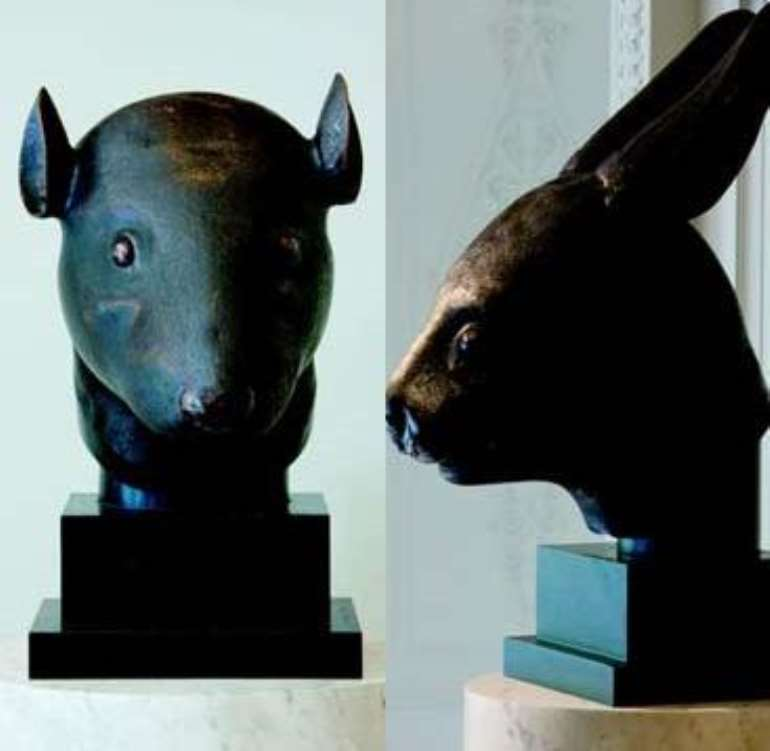 These sculptures of a rat head and a rabbit head were among the objects looted in 1860 when French and British soldiers under the command of Lord Elgin sacked the imperial palace. The eighth Lord Elgin was the son of the seventh Lord Elgin, who removed the Parthenon Marbles from Athens.