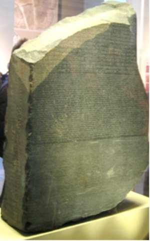 Rosetta Stone, Egypt, now in the British Museum, London, United Kingdom.