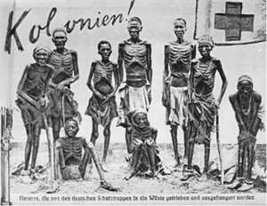 Surviving Herero returning starved from the Omaheke desert where they had been driven by German troops after the battle at Waterberg; two women in front were unable to stand