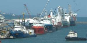 A line-up of vessels that had berthed at the Takoradi Port