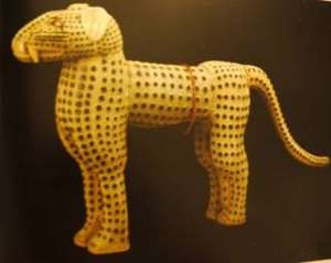 One of a pair of leopard figures, now in the Royal Collection Her Majesty Queen Elizabeth II, London, UK. The commanders of the British Punitive Expedition force sent a pair of leopards to the British Queen soon after the looting and burning of Benin City.