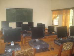 Some of the donated computers on display