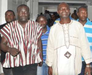 Kennedy Agyapong  (right) - Coming out of court as the case was adjourned