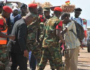 Soldiers slapping Vincent Dzatse, at the Independence Square yesterday