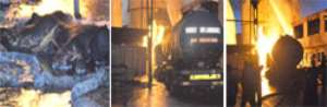 (left) The charred remains of one of the victims. (middle) The blazing fire. (right) One of the tankers on fire