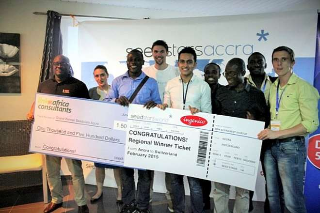 SEEDSTARS ACCRA WINNERS KITIWA, LINK AFRICA CONSULTANTS, AND SSW TEAM NELLIE HORN AND JULIEN BERTHOMIER