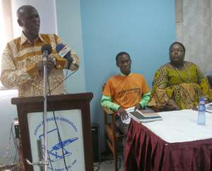 Mr. Akoto Ampaw addressing the media with Nana Oye Lithur and Jonathan Osei Owusu, coalition members observe proceedings