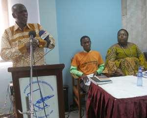 Mr. Akoto Ampaw addressing the media with Nana Oye Lithur and Jonathan Osei Owusu, coalition members observe proceedings