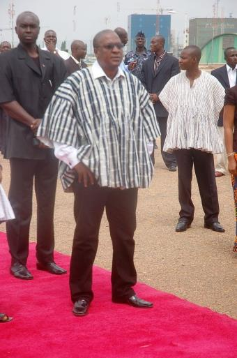 VICE PRESIDENT MAHAMA WAITNG FOR MRSJOHNSON- SIRLEAF, LIBERIAN PRESIDENT ON THE TARMAC AT THE K.I.A.