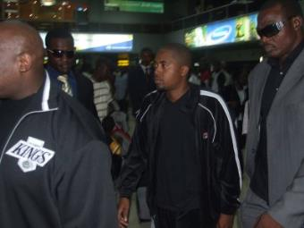 Nas at the Murtala Muhammed International Airport,Ikeja on Thursday<br/>
