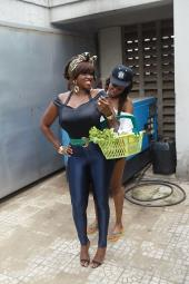 Waje Is A Housewife, Tiwa Savage Pounds Yam In Lingerie! Behind The Scenes Pics: Waje Ft Tiwa Savage 'Onye'