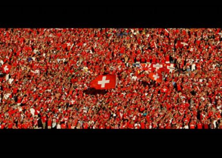 A sea of red lends its support to the Swiss national team.