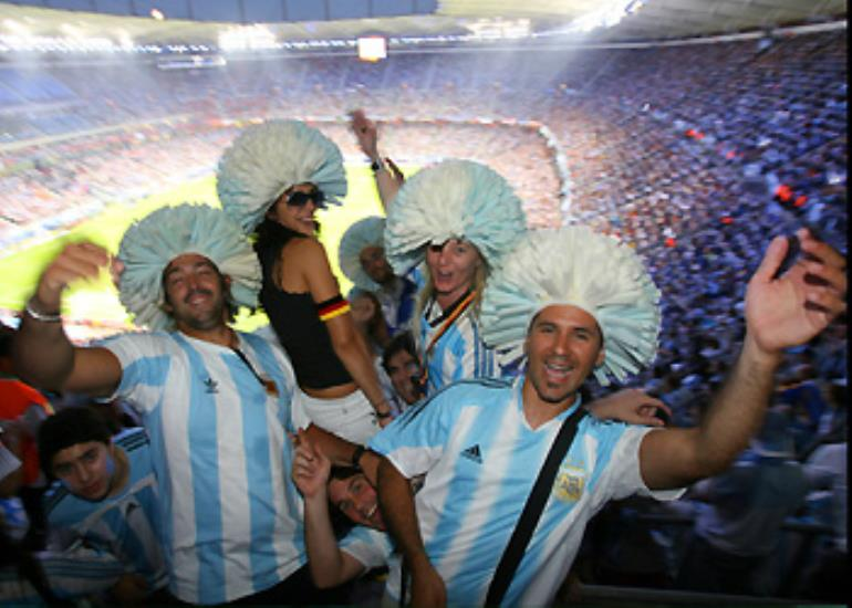 Argentina fans get in the mood ahead of their first match in Hamburg.
