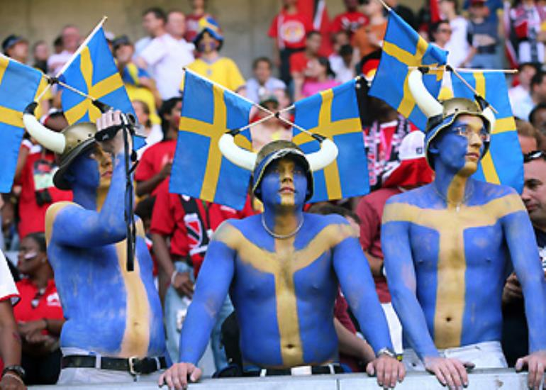 Swedish fans add a viking flavour to the festivities.