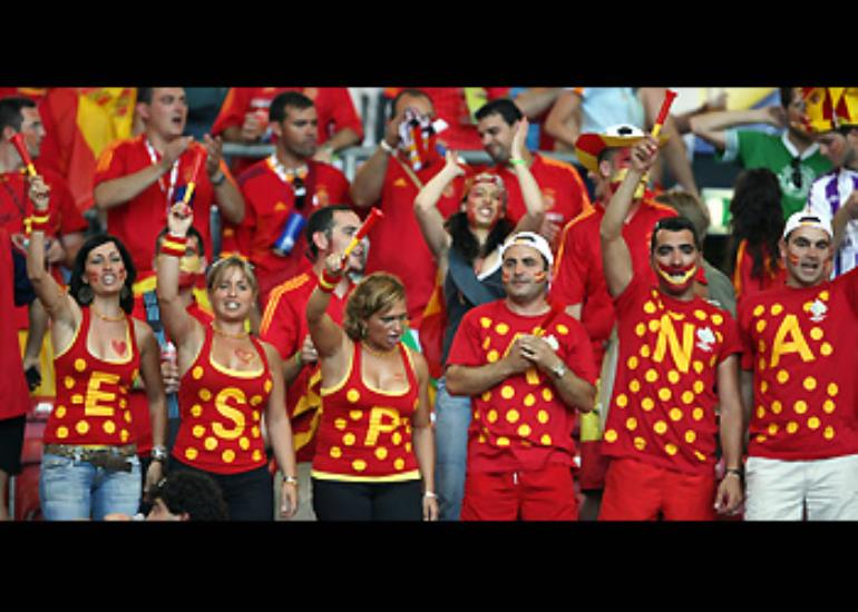 Spanish fans put their loyalties on their chests.