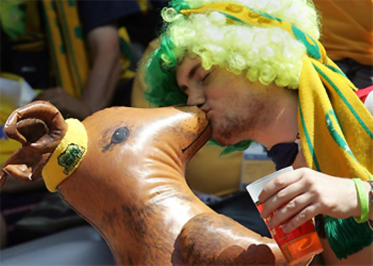 An Australia supporter shows his undying love for the Socceroos... (and others)