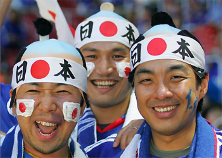Japan fans get into the spirit ahead of their match with Australia.