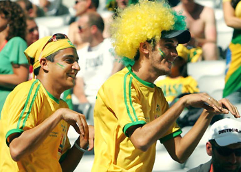 Brazil fans make like a kangaroo ahead of their match with Australia.