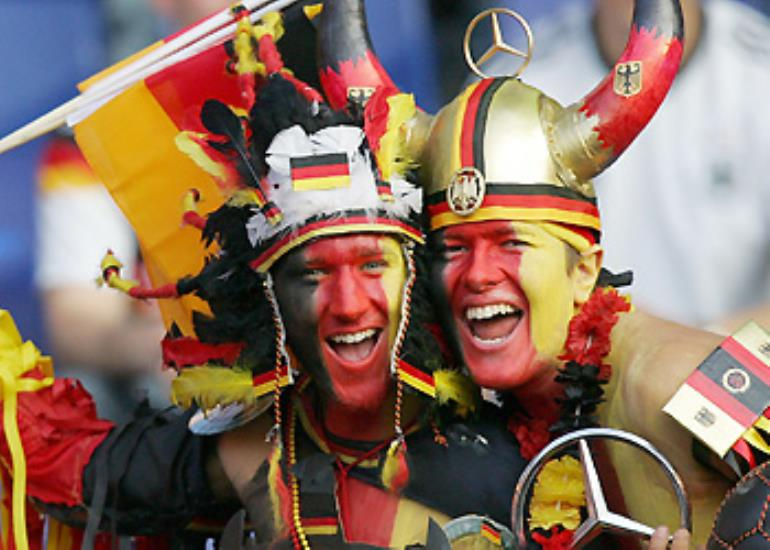 German fans cheer on the host nation.