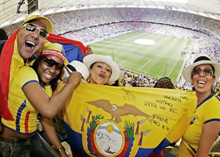 Ecuador fans bring some Latin fever to the stadium in Hamburg.