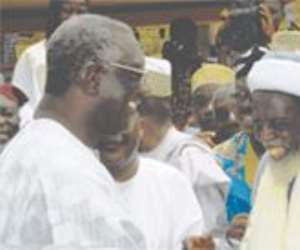 Prez Kufuor (left) Being Welcomed By The Chief Imam