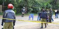 File photo shows police cordoning off the site of a bomb attack in Arusha, northern Tanzania on July 8, 2014.  By  (AFP/File)