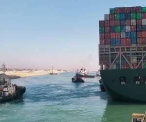 The Ever Given was turned away from the bank of Suez Canal on Monday, raising hopes it could be soon be refloated.  By - (AFP)