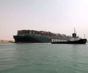 The Panama-flagged MV Ever Given got stuck on Tuesday.  By - (Suez CANAL/AFP)
