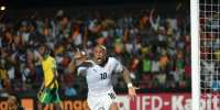 Ghana's midfielder Andre Ayew celebrates after scoring his team's winning goal during the 2015 African Cup of Nations group C football match against South Africa on January 27, 2015 in Mongomo.  By Khaled Desouki (AFP)
