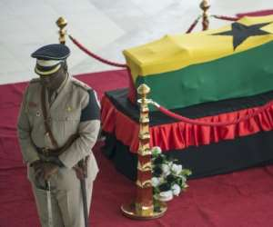 Kofi Annan's body was flown back to his homeland for mourners to pay their last respects ahead of a state funeral and private burial in Accra on Thursday.  By CRISTINA ALDEHUELA (AFP)