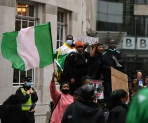 Protesters gathered at London landmarks such as Parliament Square and the BBC.  By DANIEL LEAL-OLIVAS (AFP)