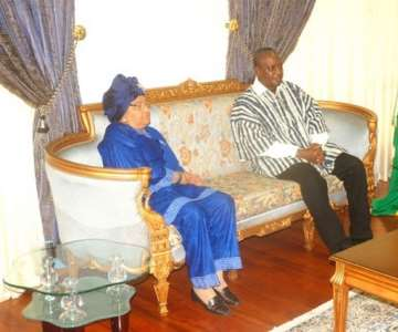 VICE PRESIDENT MAHAMA AND LIBERIAN PRESIDENT MRS JOHNSON-SIRLEAF AT JUBILEE LOUNGE