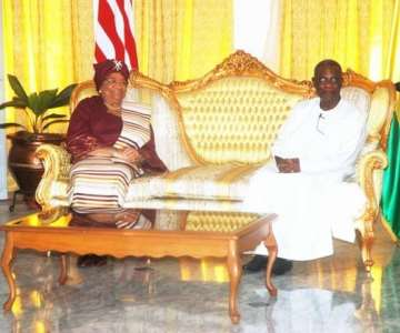 PRESIDENT MILLS AND MRS JOHNSON-SIRLEAF AT THE CREDENTIAL HALL AT THE CASTLE, OSU
