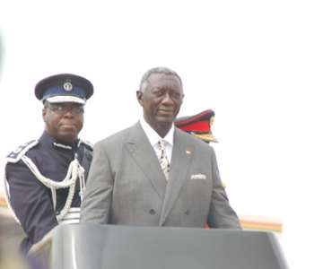 <br/>President Kufuor Inspecting The Parade