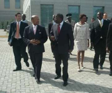 Ghanaian Vice President Aliu Mahama (third from left) leaving the US Embassy in Accra after the ribbon-cutting ceremony at the new US Embassy in Accra