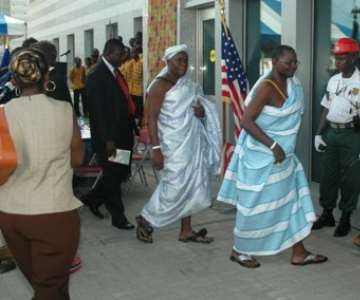 Some of the guests invited to take a look at the interior of the US Embassy in Accra.
