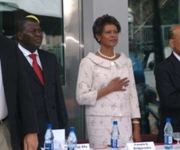 Ms Pamela Bridgewater, US Ambassador to Ghana (middle) and General Charles Williams, Director of US Overseas Building Operations (right) and Ghanaian Vice President Aliu Mahama take the US national salute at the new US Embassy in Accra