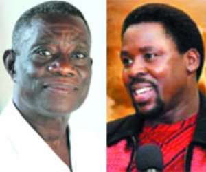 From left: President Atta Mills, Prophet TB Joshua, Mrs Betty Mould-Iddrisu, Police officers executing the court order. INSET: Some of the impounded properties of the Synagogue Church