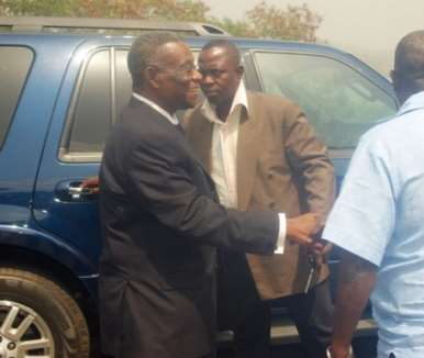 President Mills arrives at Volta Hotel, Akosombo, to address  the meeting of